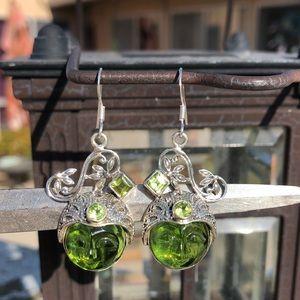 Jewelry - Face Peridot/Green Quartz Sterling Silver Earrings